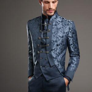 Abito giacca lunga con tessuto damascato colore blu e terra